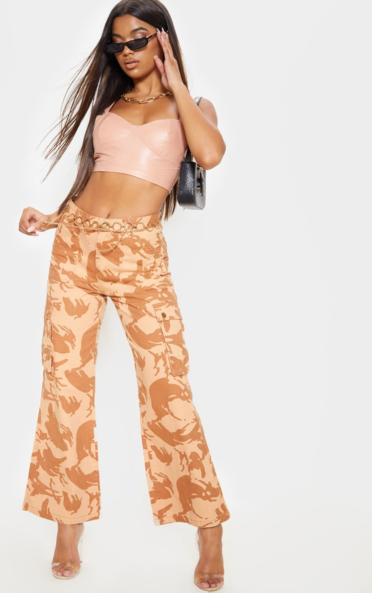 Camo Cargo Baggy Wide Leg Cropped Jeans 1