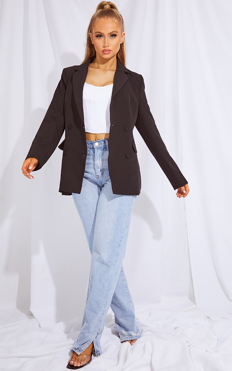 Black Double Breasted Covered Button Blazer 3