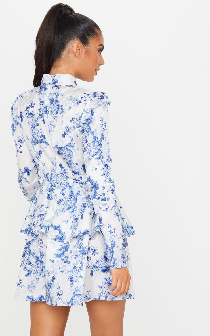 Blue Floral High Neck Tiered Skater Dress 2