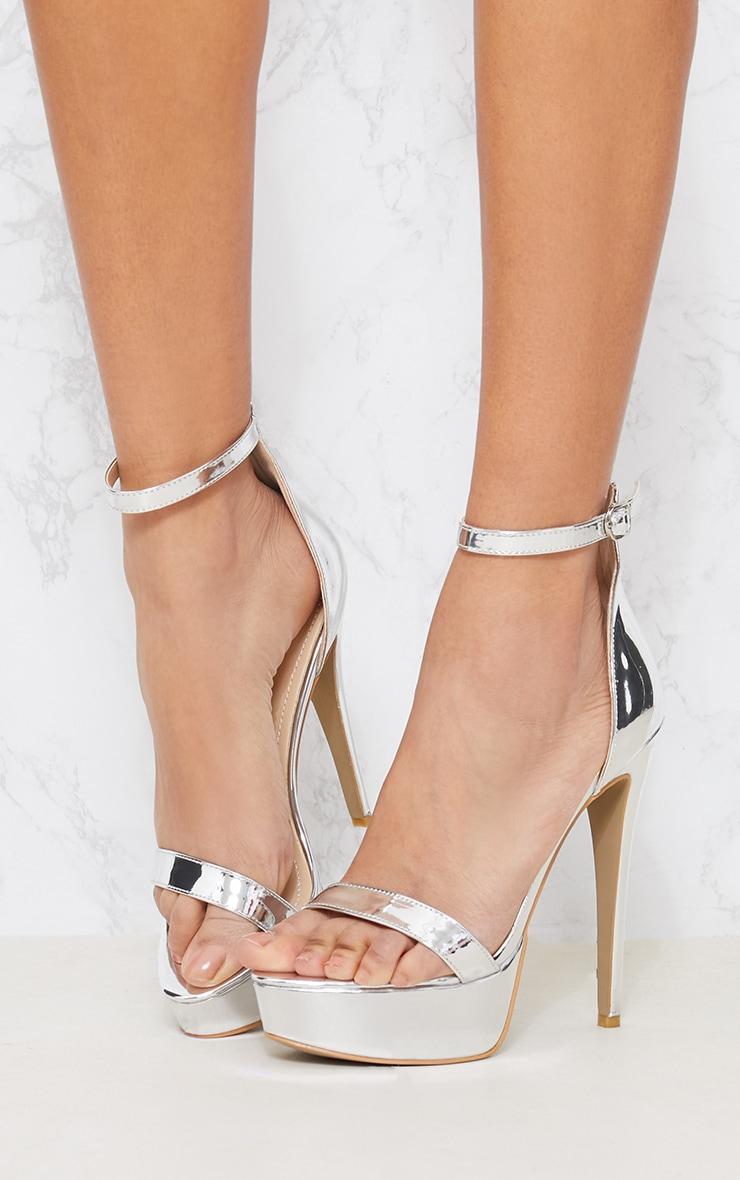 Silver Metallic Platform Sandal 2