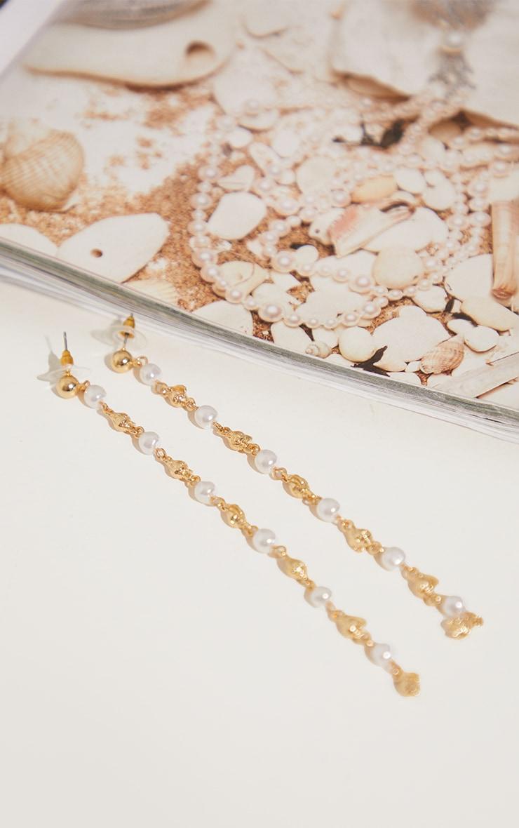 Gold Bead and Pearl Tassel Earrings 3