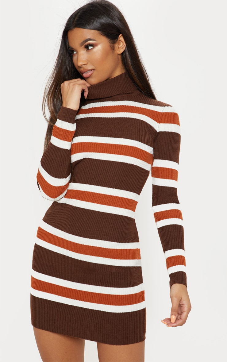 82532c299 Chocolate Striped Knitted Dress | Knitwear | PrettyLittleThing IE