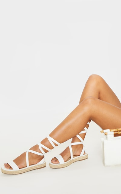 White Lace Up Espadrille Flatform Sandal