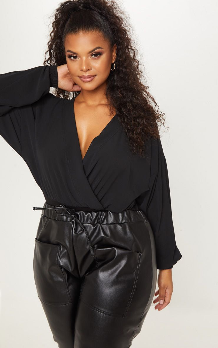 Plus Black Crepe Plunge Bodysuit 1