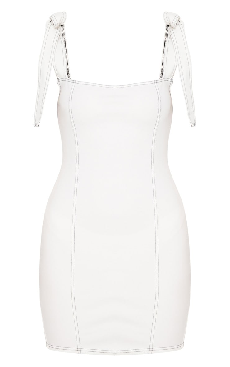 White Contrast Stitch Tie Shoulder Bodycon Dress 3