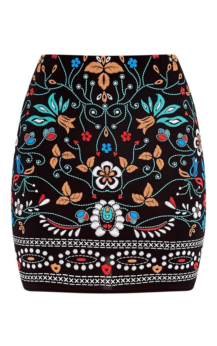 Marni Black Embroidered Print Mini Skirt 3