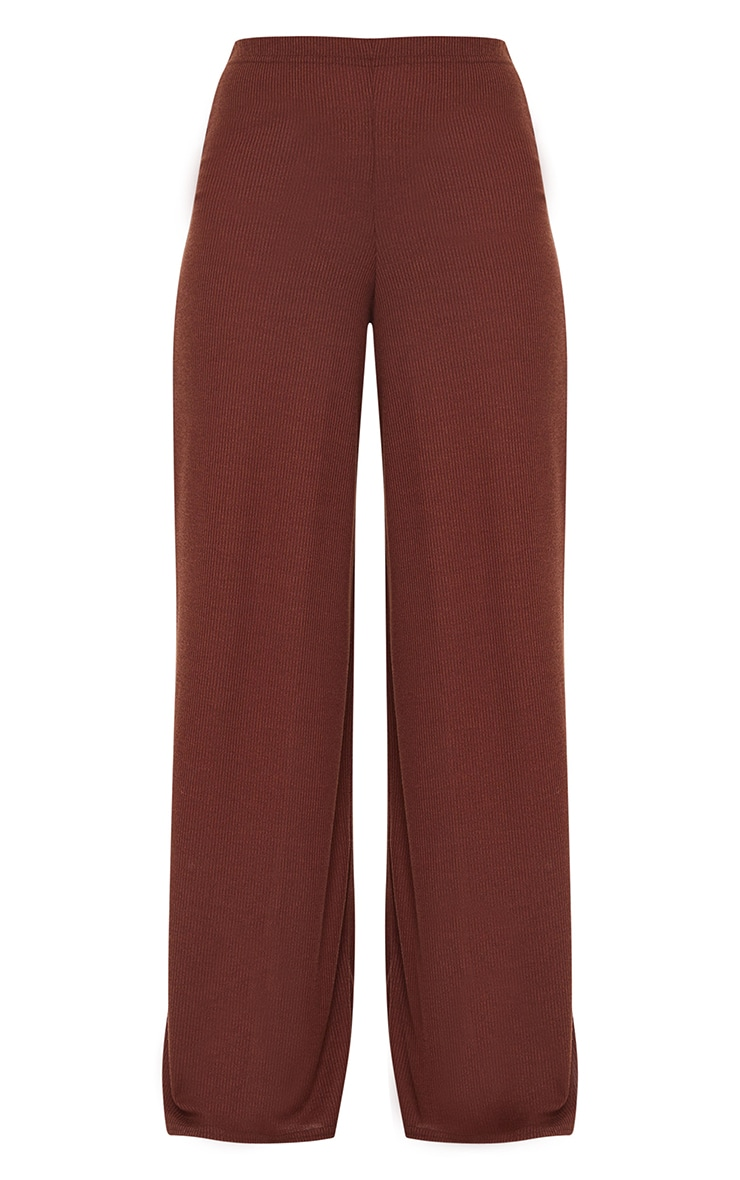Chocolate Brown Ribbed Wide Leg Trousers 5