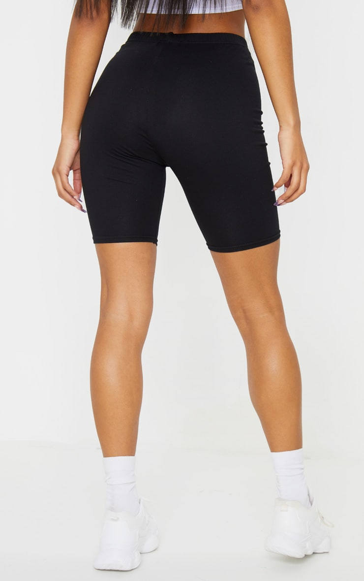Black Cotton Stretch Bike Short 3