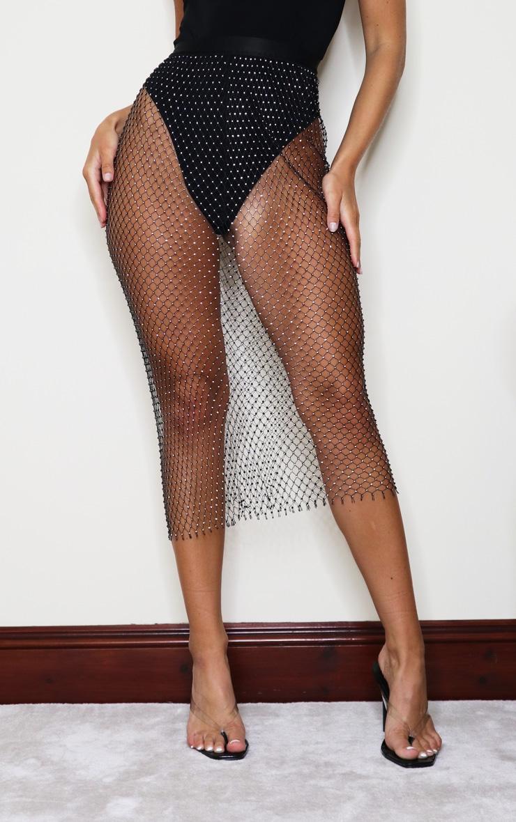 Black Mesh Diamante Midaxi Skirt 2