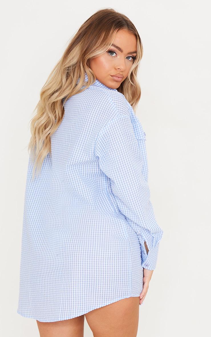 Blue Gingham Checked Oversized Beach Shirt 2