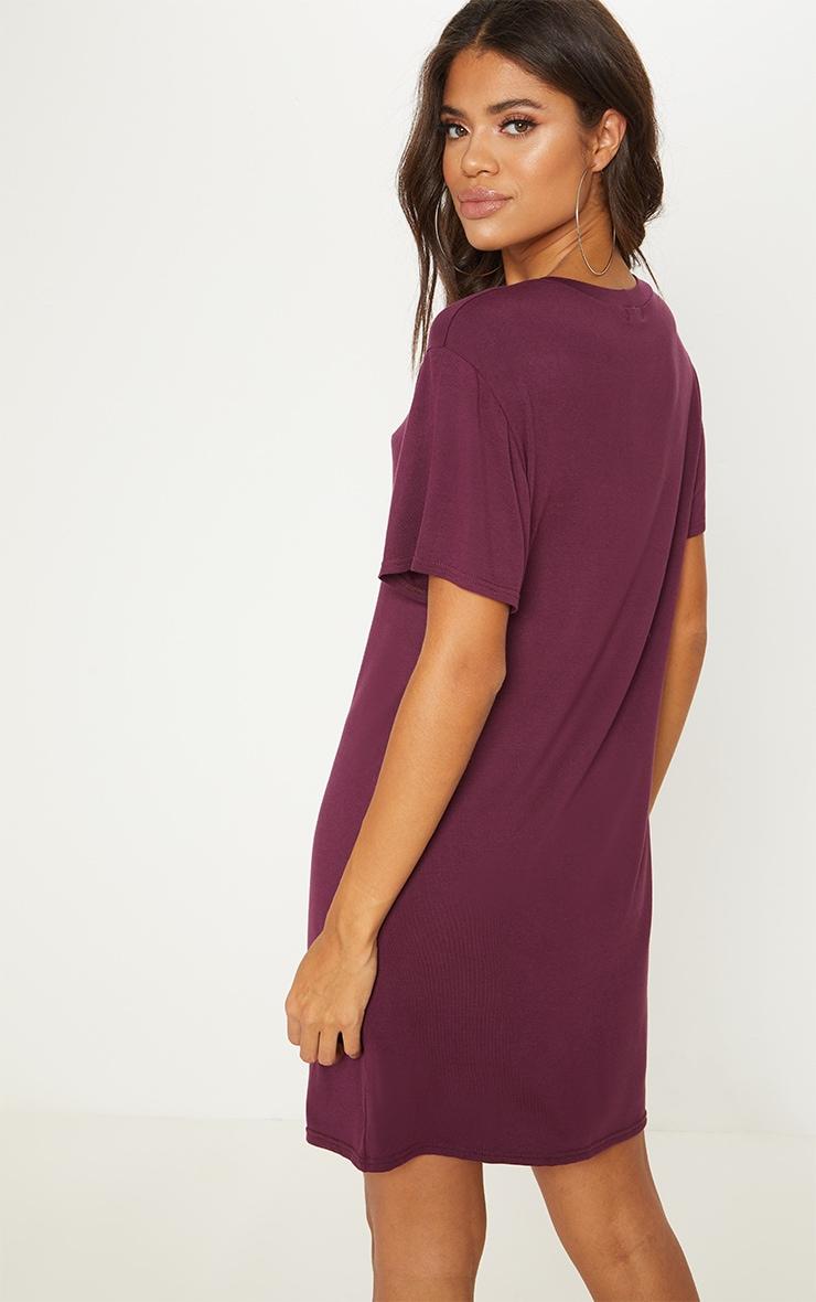 Basic Deep Burgundy Short Sleeve T Shirt Dress 2