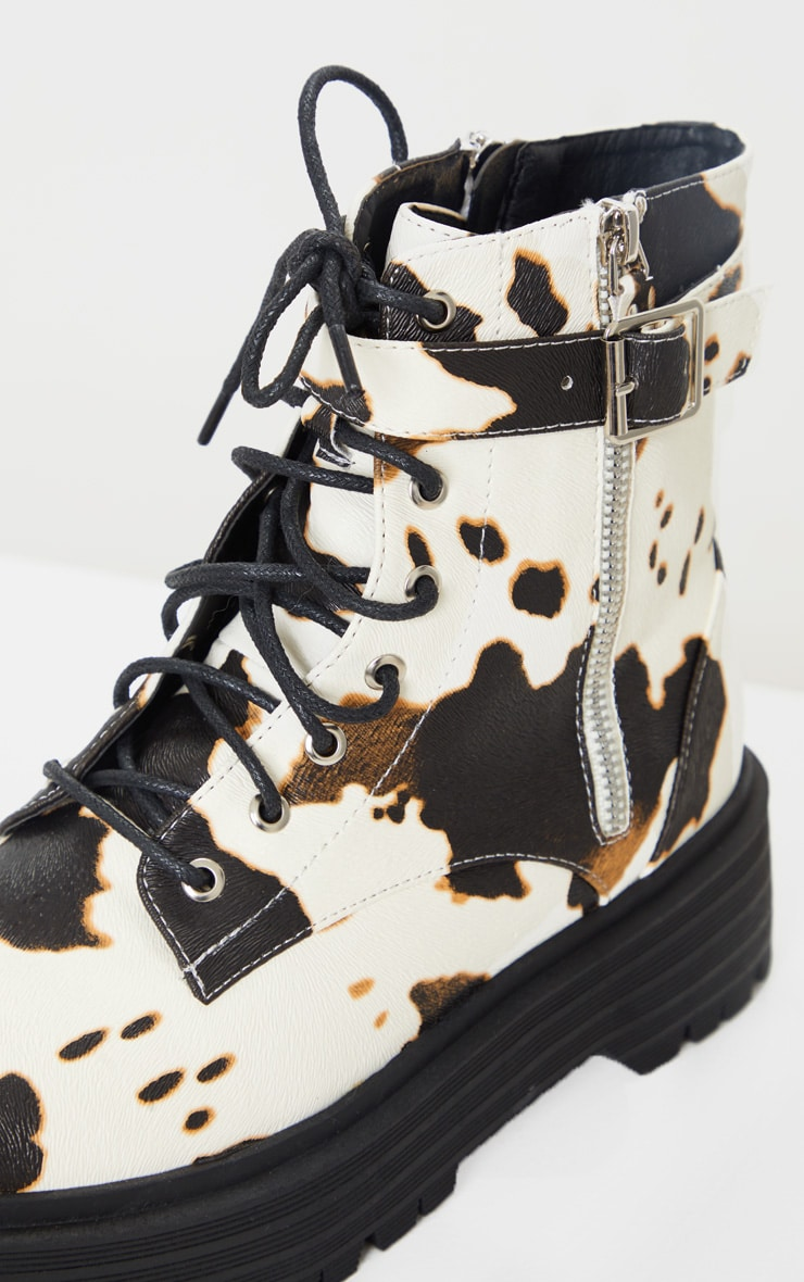 Cow Print Double Sole Lace Up Buckle Biker Boots 4