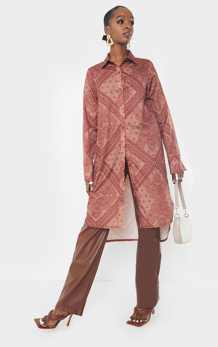 Rust Printed Split Hem Shirt Dress 1