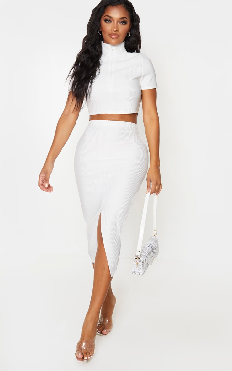 Shape Cream Jumbo Rib High Neck Zip Crop Top 4