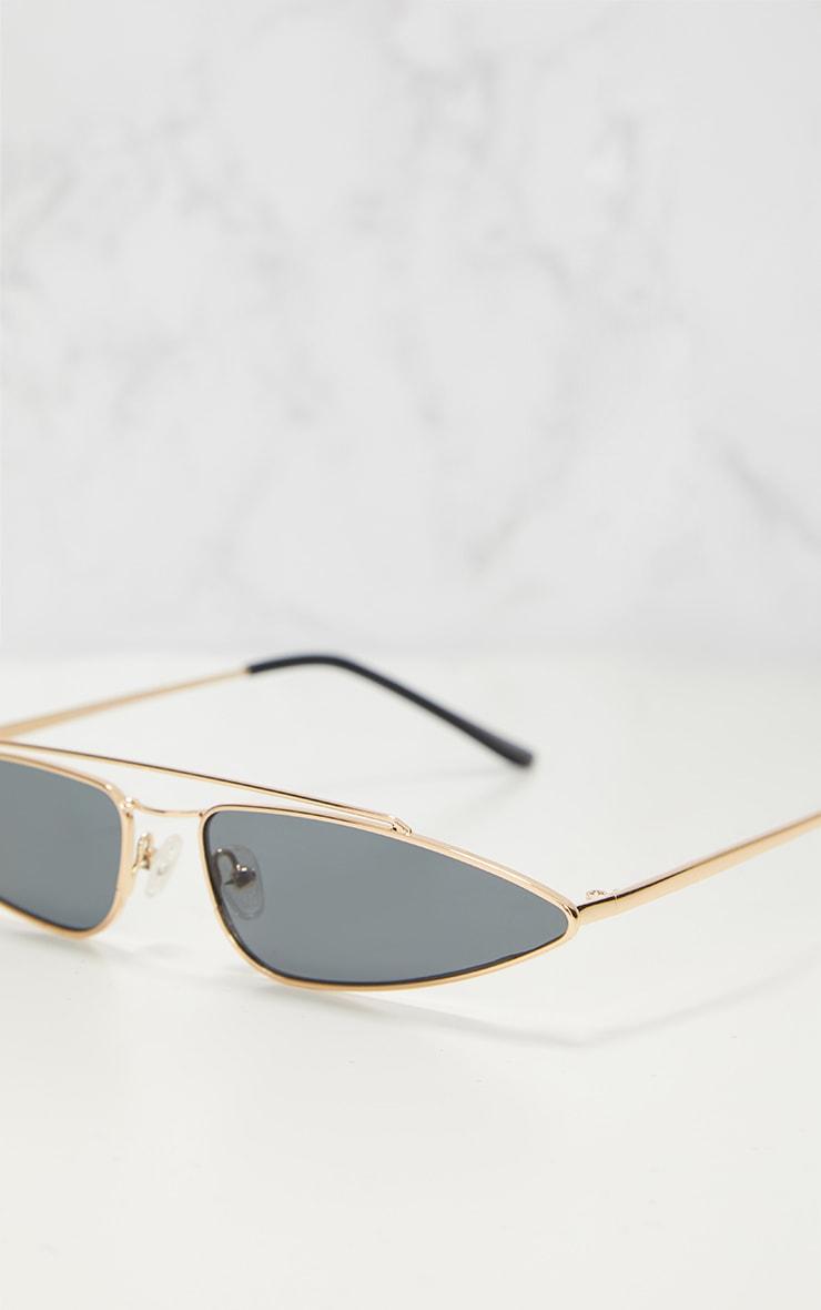 Gold Slim Retro Sunglasses 3