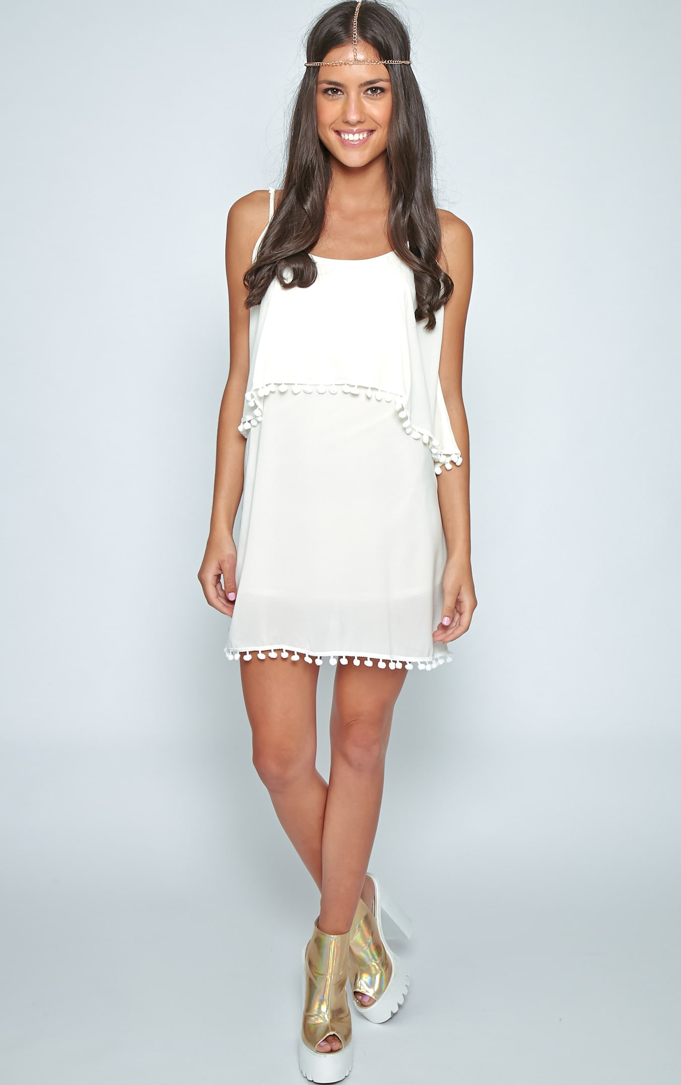 Harper Cream Pom Pom Frill Dress 3