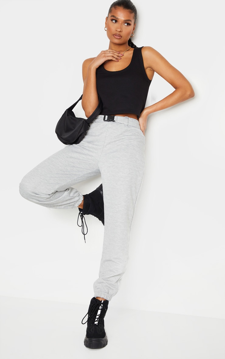 Grey Buckle Belted Casual Track Pants 1