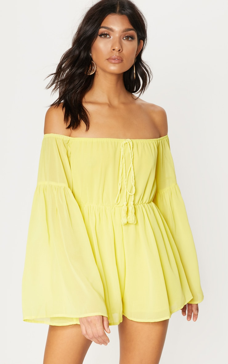 Yellow Chiffon Flared Sleeve Playsuit 1
