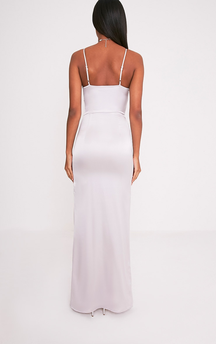 Kiria Silver Grey Lace Up Satin Maxi Dress 2
