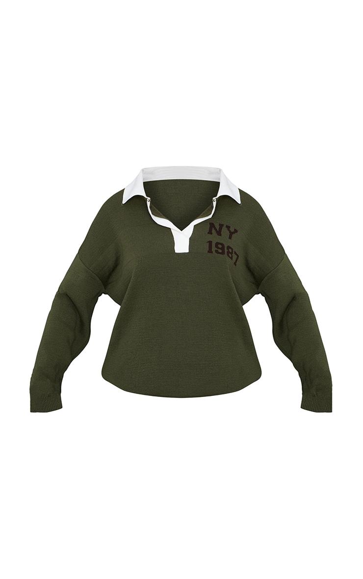 Khaki Oversized Collared Knitted Ny Jacquard Sweater 5
