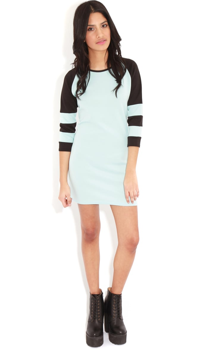 Jolyn Baby Blue Stripe Scuba Dress 3