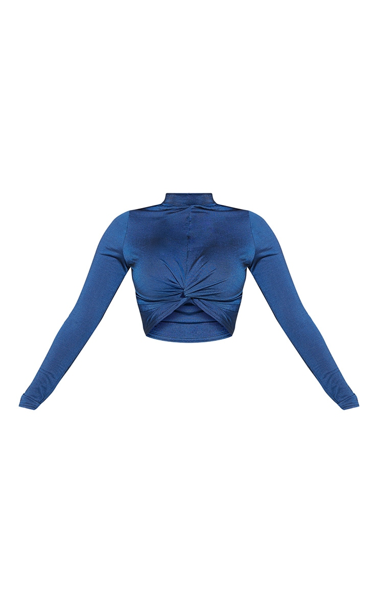 Shape Navy Ruched Long Sleeve Crop Top 3