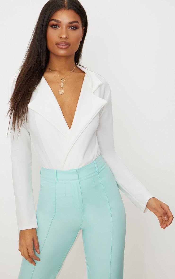 White Crepe Tux Blazer Thong Bodysuit  1