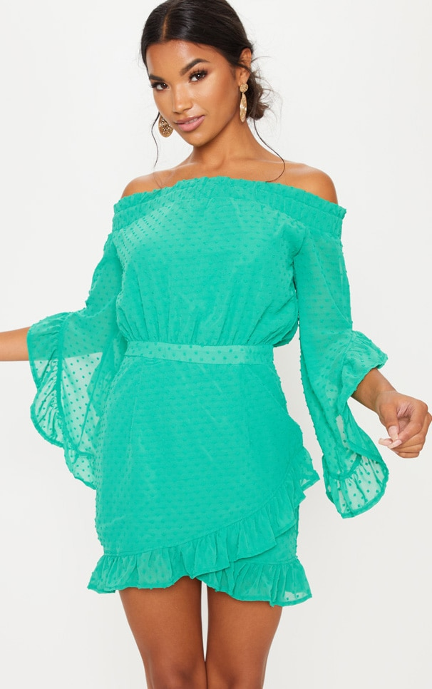Bright Green Spotty Mesh Bardot Frill Detail Bodycon Dress