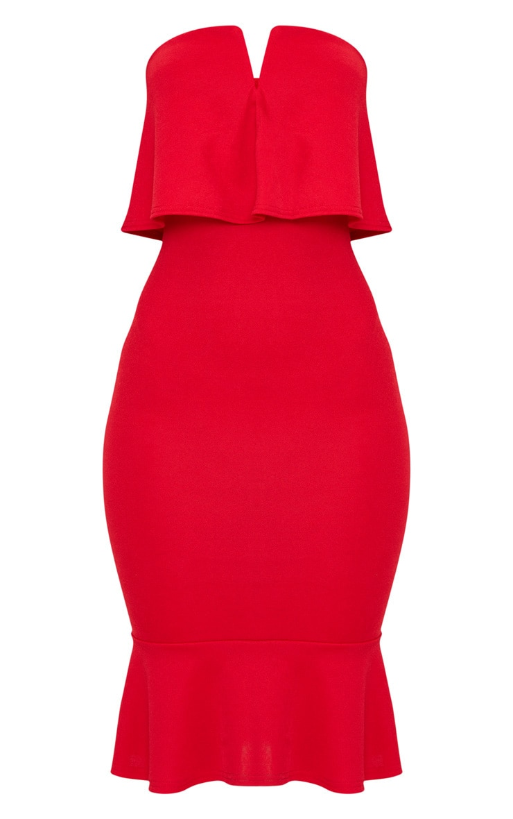 Red Bandeau V Bar Frill Hem Midi Dress 3
