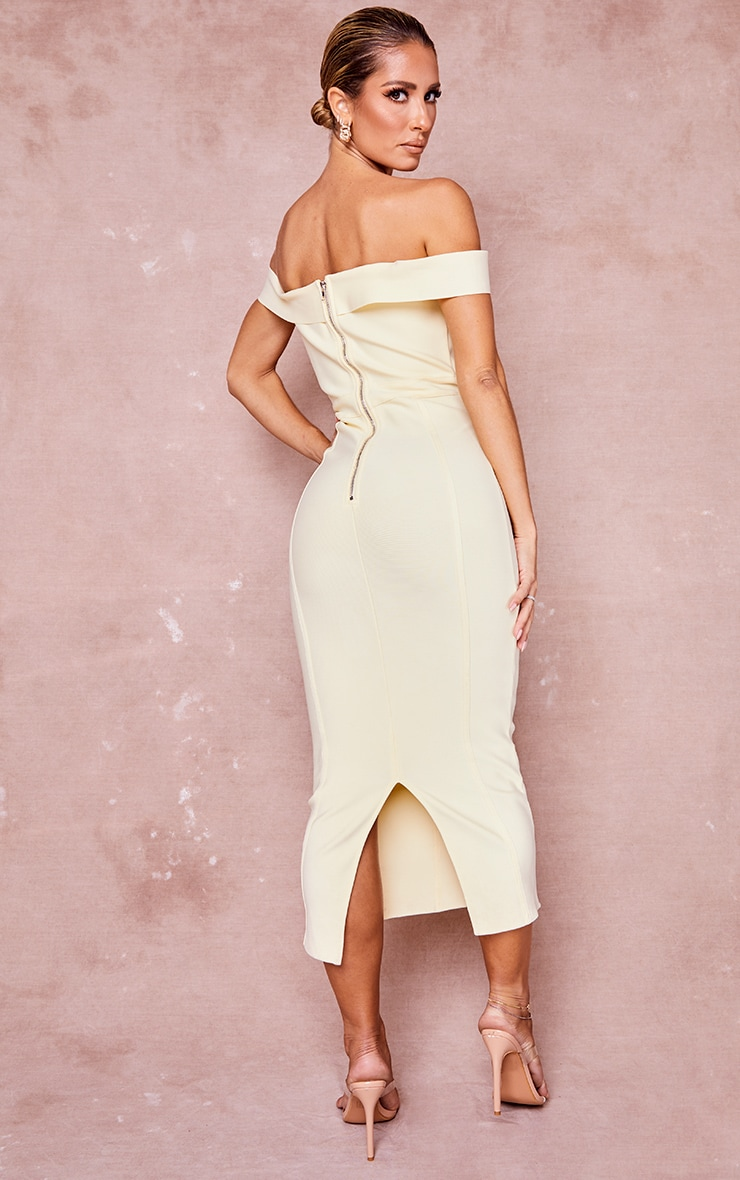 Cream Bandage Bardot Binded Midi Dress 2