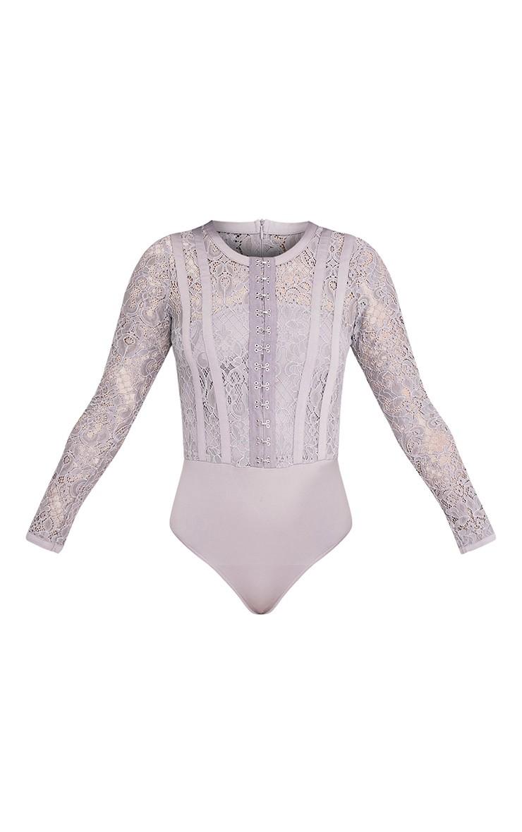 Idalia Grey Premium Hook & Eye Lace Thong Bodysuit 3