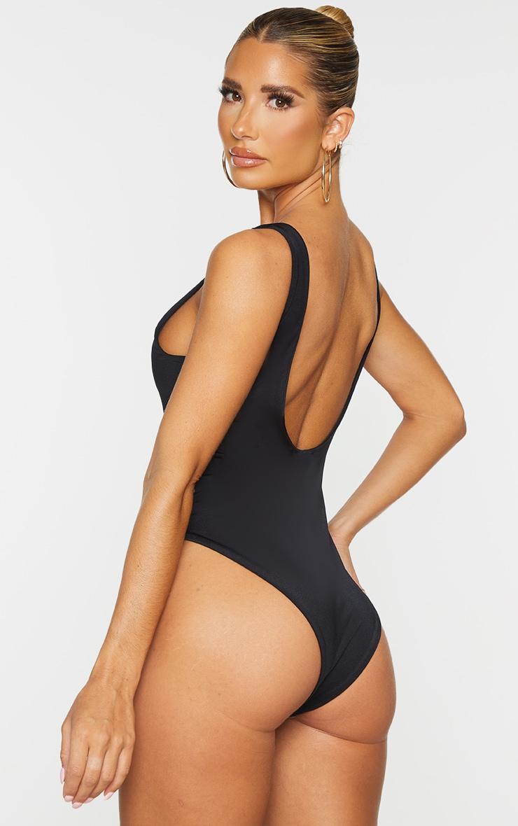 Black Basic High Neck Swimsuit 2
