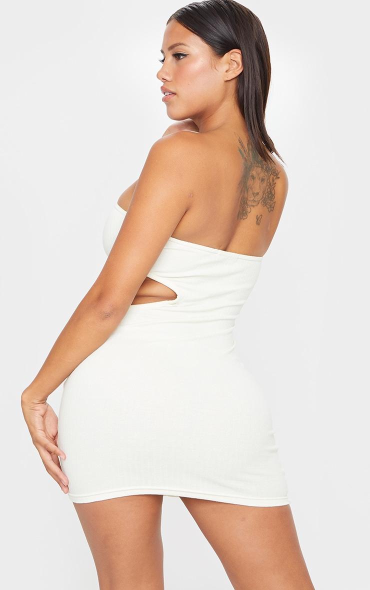 Shape Cream Thick Rib Cut Out Bandeau Bodycon Dress 2