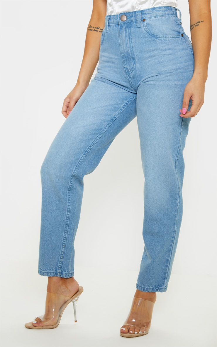 Petite Light Wash Straight Leg Jeans 2
