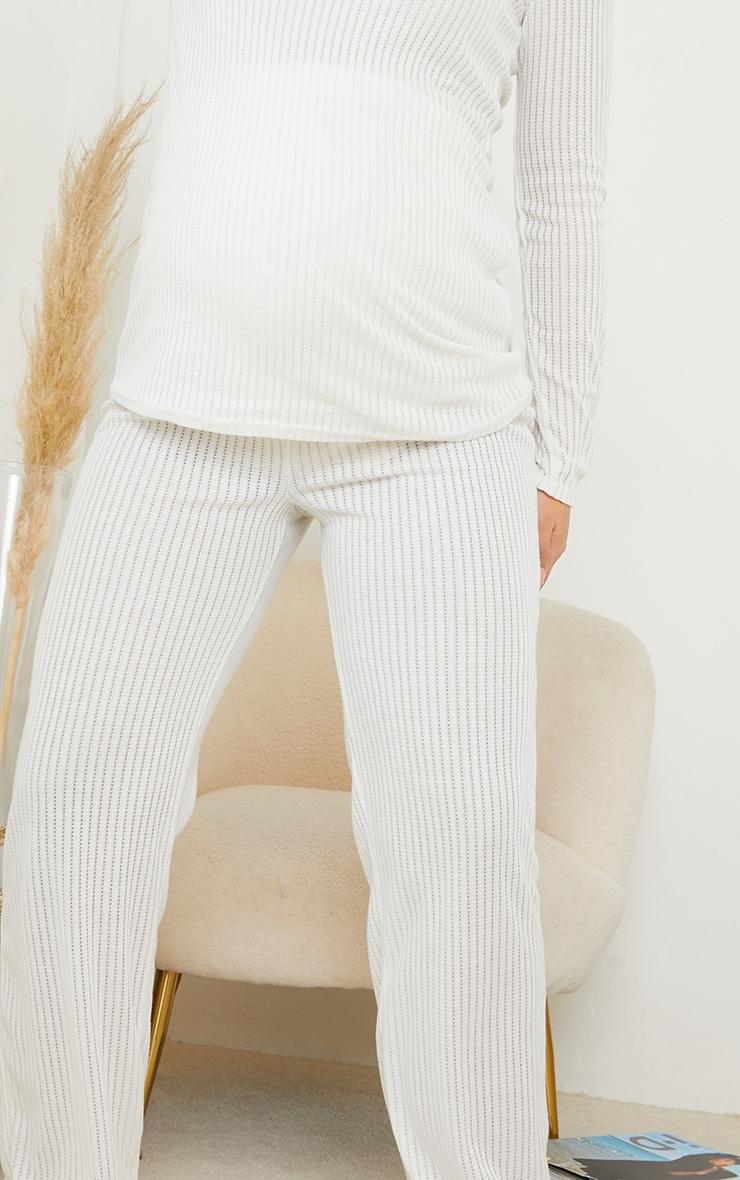 Maternity White Pointelle Wide Leg Pants 4
