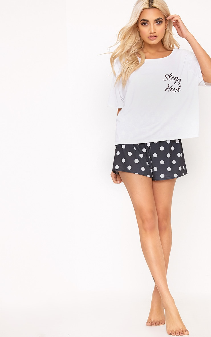 Polkadot Sleepy Head Slogan PJ Set 4