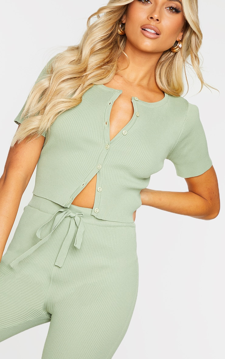 Sage Green Ribbed Short Sleeve Button Up Cardigan 4