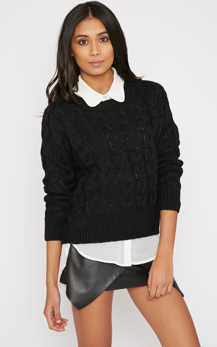 Tara Black Cable Knit Jumper  1