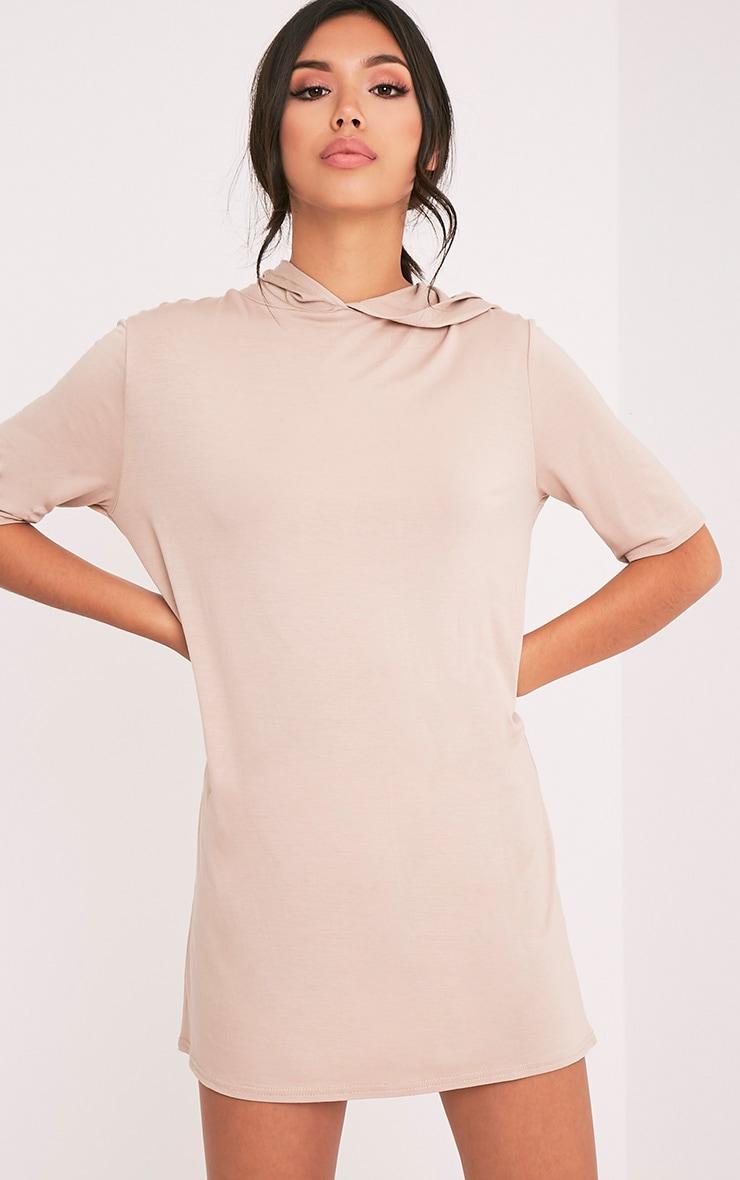 Abbie Nude Short Sleeve Hooded T Shirt Dress 1