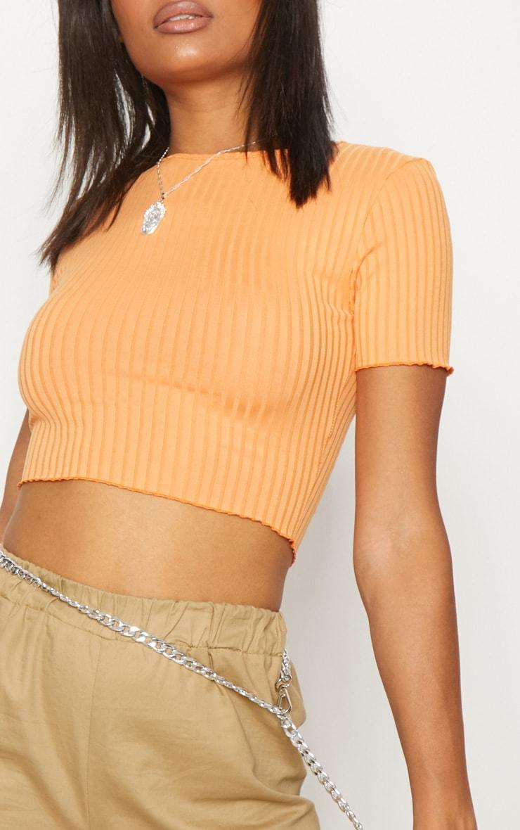 Tangerine Rib Frill Detail Crop T Shirt 5