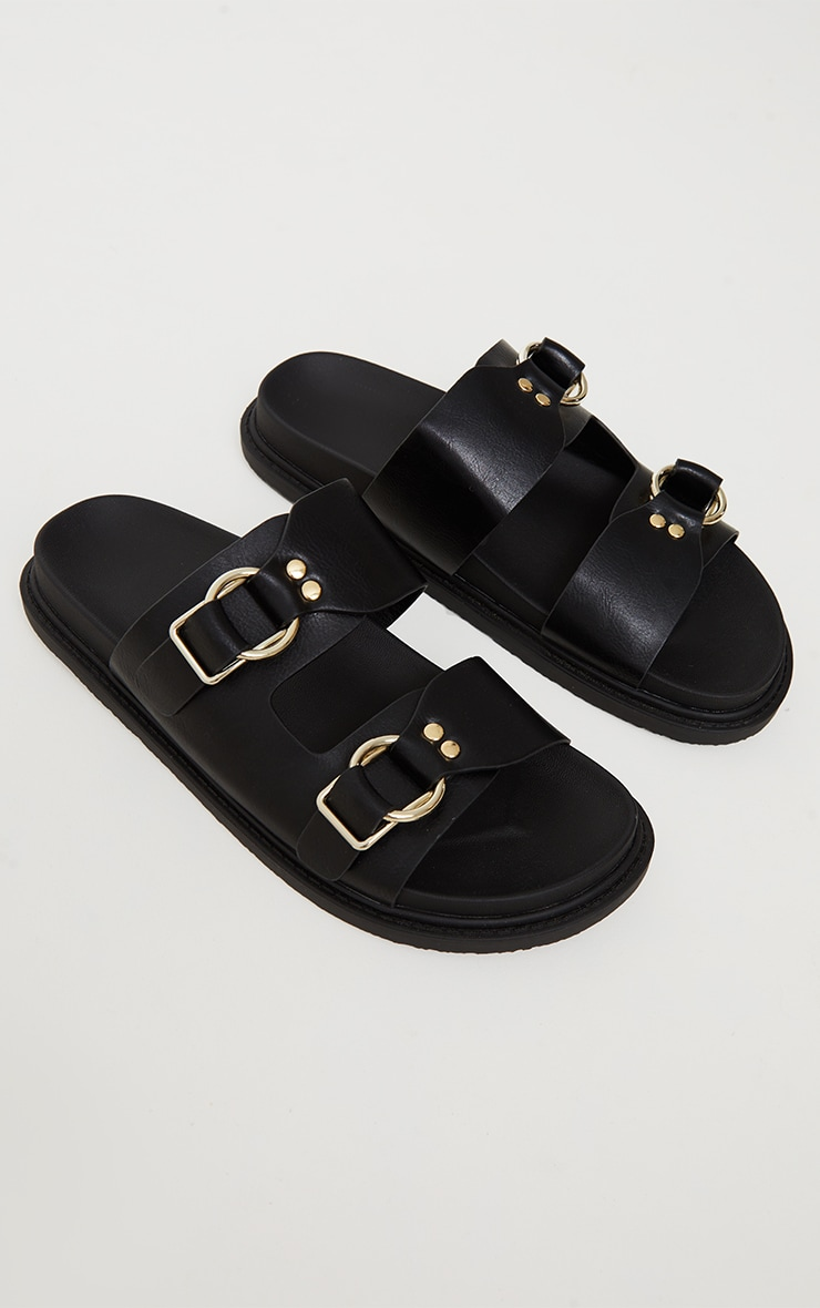 Black PU Buckle Trim Double Strap Chunky Dad Sandals 3