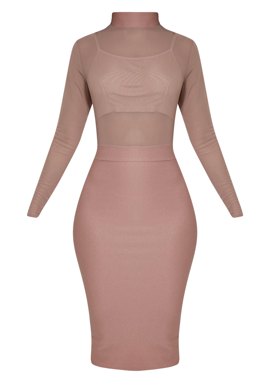 Kelly Mauve Mesh Top Midi Dress 3