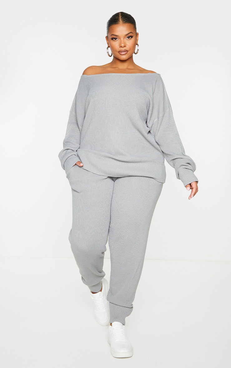 PLT Plus - Ensemble lounge en maille tricot grise 3