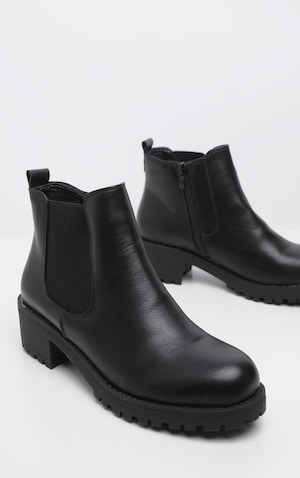 8c00cd013f1 Black Low Heel Cleated Chelsea Ankle Boots