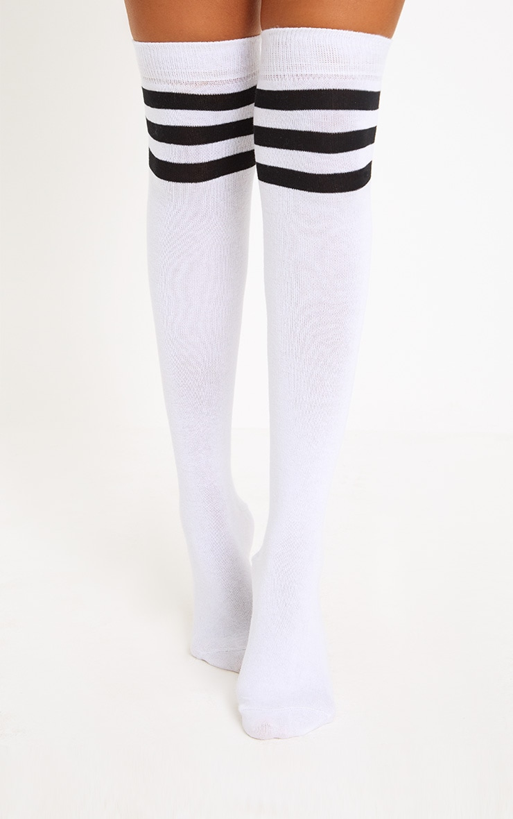 White & Black Striped Over The Knee Socks 1