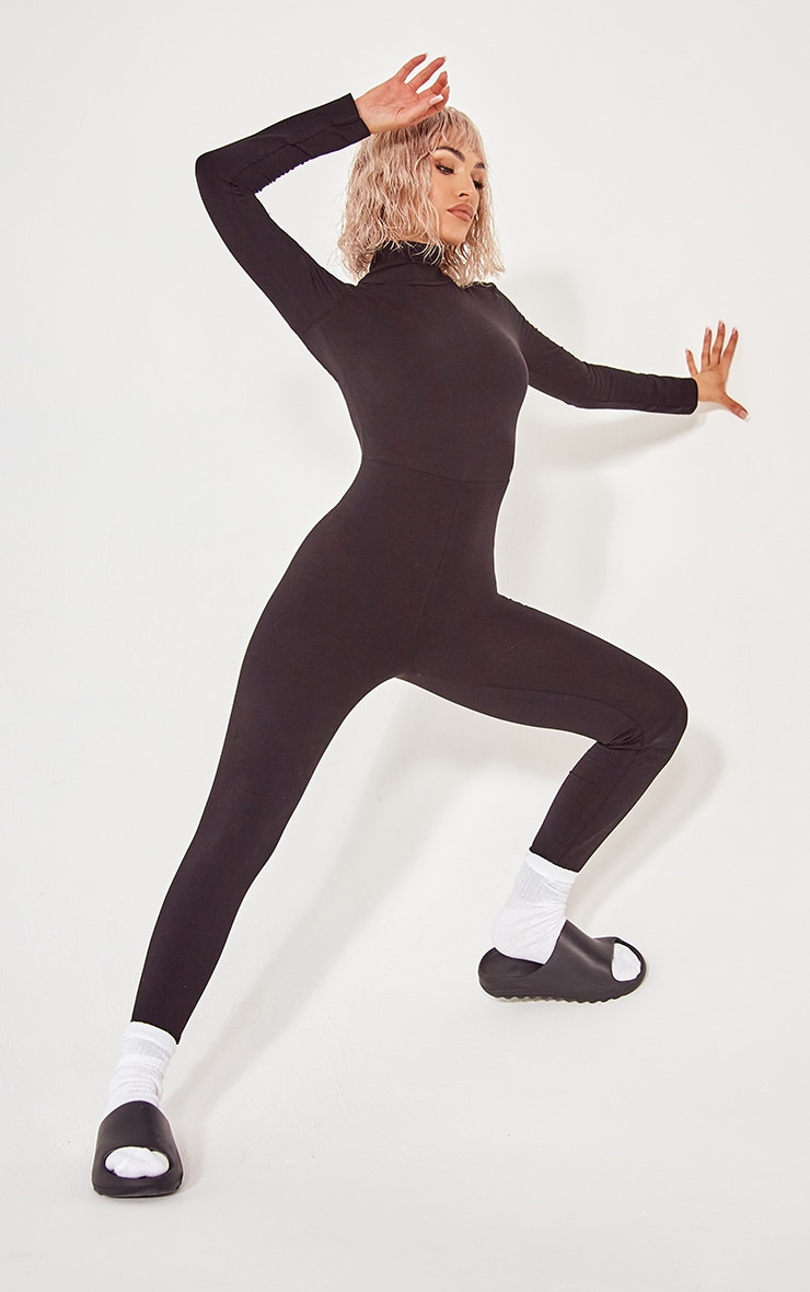 Black Roll Neck Long Sleeve Jumpsuit 1
