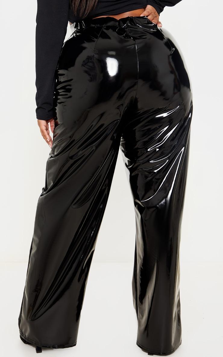 Plus Black Vinyl Wide Leg Pants  4