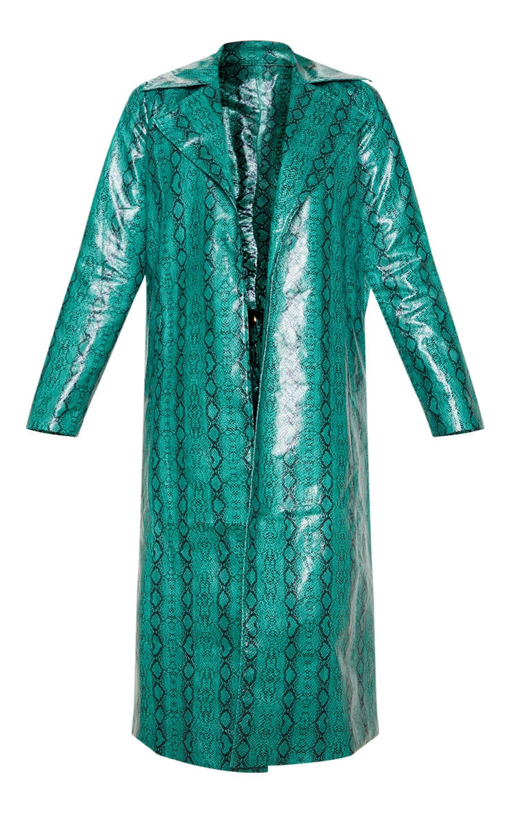 Emerald Green Snake PU Trench 3