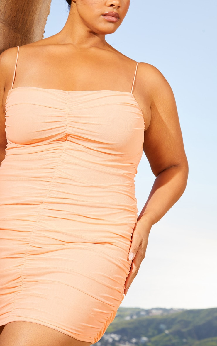 Plus Peach Second Skin Ruched Mesh Bodycon Dress 5