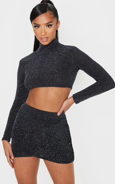 Petite Black Wrap Textured Glitter Mini Skirt